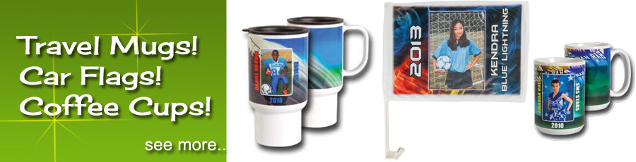 Specialty products, travel mugs, car flags